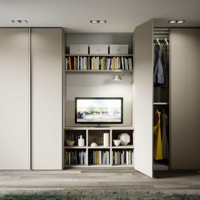 Armadio Battente Con Libreria Centrale Porta Tv | Gambula Arredamenti