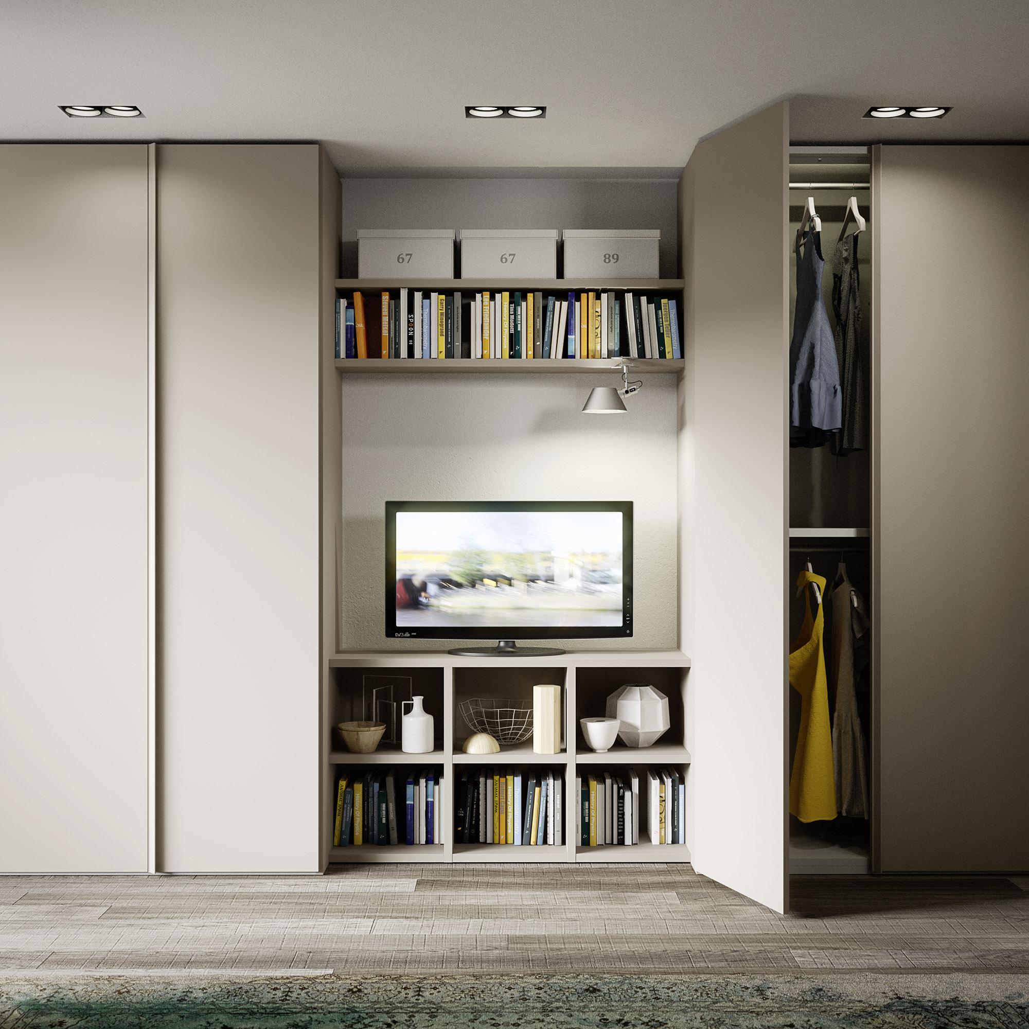 Armadio battente con libreria centrale porta tv gambula - Libreria con porta ...